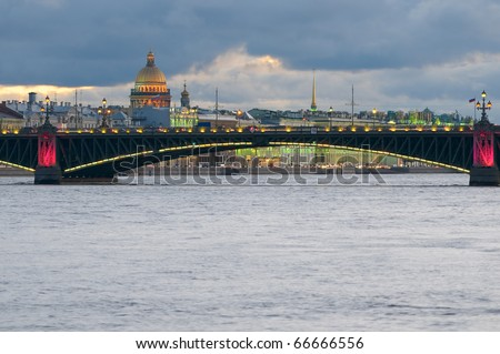 Trinity Bridge and Dome of St. Isaac's Cathedral, St. Petersburg, Russia. - stock photo