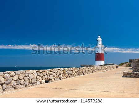 Trinity lighthouse, Gibraltar - stock photo