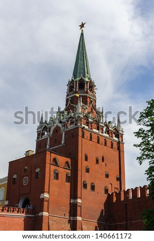 Trinity Troitskaya Tower, a tower with a through-passage in the center of the northwestern wall of the Moscow Kremlin, which overlooks the Alexander Garden. - stock photo