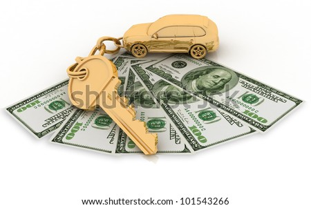 trinket for the keys to the car and dollars on the white background - stock photo