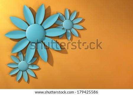 Trio of Blue Spring Flowers over Textured Yellow Orange Background - stock photo