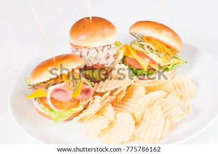 Trio of mini sandwiches with cheese, tuna and turkey ham close up