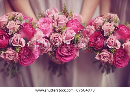 Trio of Pink Bridesmaid Posies - stock photo