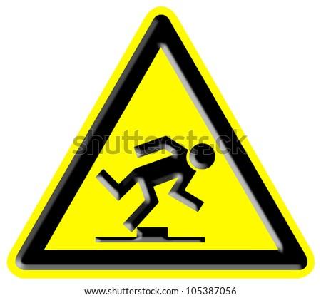 Trip hazard sign - stock photo