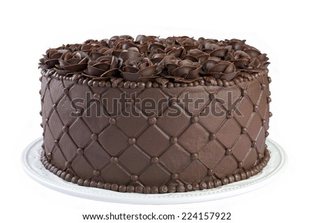 Triple Chocolate Cake frosted and embossed with diamond impression on the sides with hand crafted Chocolate frosting roses on top Isolated on White Background - stock photo