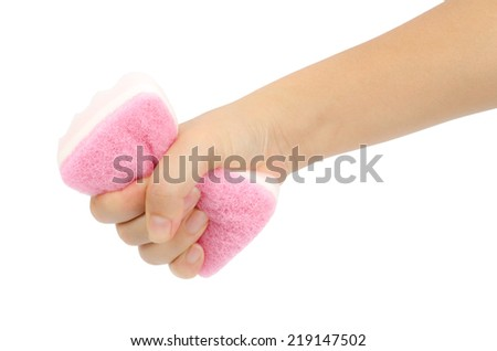 Triple layer sponge in hand isolate on white background - stock photo