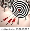 Triple Target Showing Accuracy, Aim And Skill - stock photo
