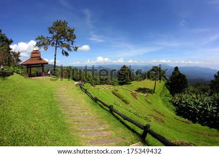 Triple tent on mountain view,Huai Nam Dang, Chiang Mai, Thailand - stock photo