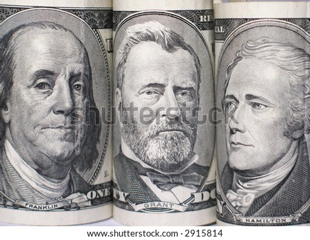 Triplet of banknote portraits - stock photo