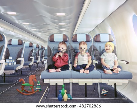 triplets in the airplane cabin. Photo combination concept.
