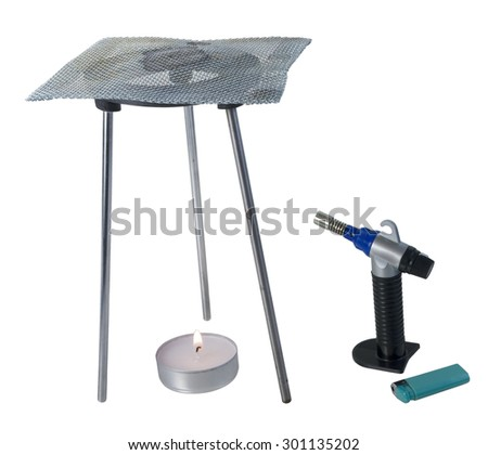 Tripod burner with mesh grating with torch and flame for soldering items - path included - stock photo