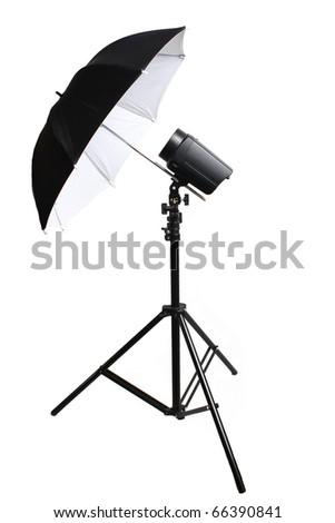 tripod umbrella studio flash white background - stock photo