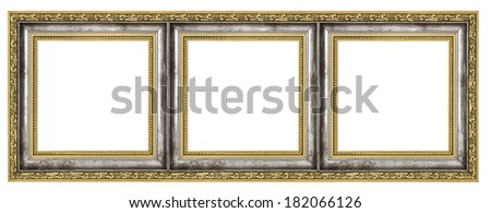 Triptych isolated on pure white background - stock photo