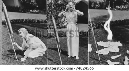Triptych of woman lighting rocket and exploding