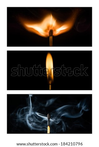 Triptych showing the life of a matchstick - stock photo