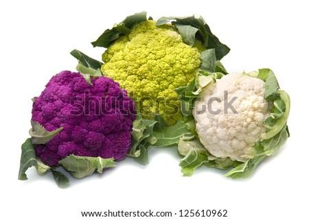 tris of Fresh cauliflower on white background - stock photo