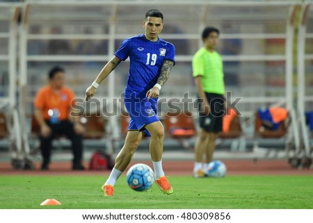 Tristan Do  of Thailand  in action during the 2018 World Cup Qualifiers match between Thailand and Japan at Rajamangala Stadium on September 6, 2016 in Bangkok, Thailand