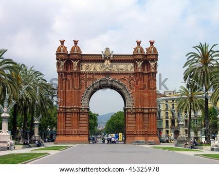 Triumph Arch (Arc de Triomf), Barcelona, Spain - stock photo