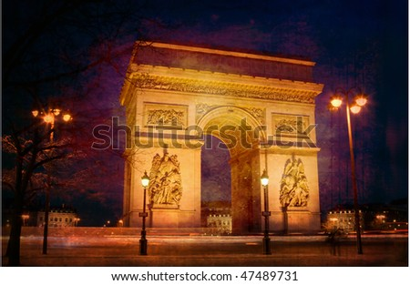 Triumph arch from Paris at night on vintage paper - stock photo