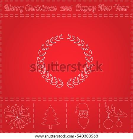 Triumph Wreath Simple Flat Button Thin Stock Illustration 540303568