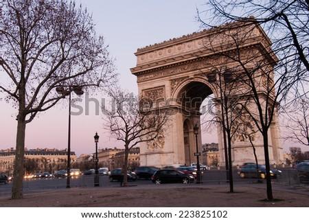 Triumphal Arch / Arc de Triomphe  Paris, France - stock photo