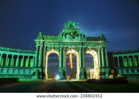 Triumphal Arch in Brussels at night time - stock photo
