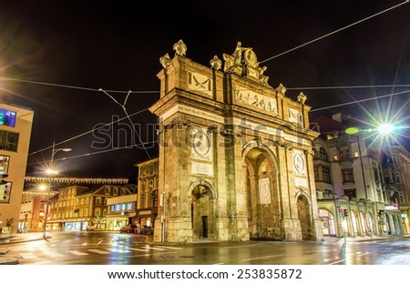 Triumphal Arch in Innsbruck at night - Austria - stock photo