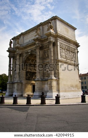 Triumphal arch in Marseille, France - stock photo