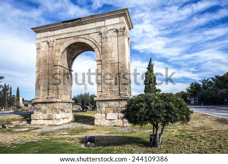 Triumphal arch of Bara in Tarragona, Catalonia, Spain. - stock photo