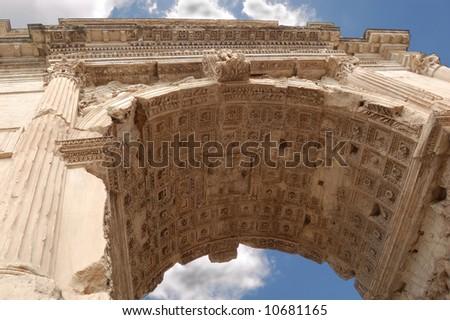 Triumphal Arch (Titus Arch) on Roman Forum, Rome, Italy - stock photo
