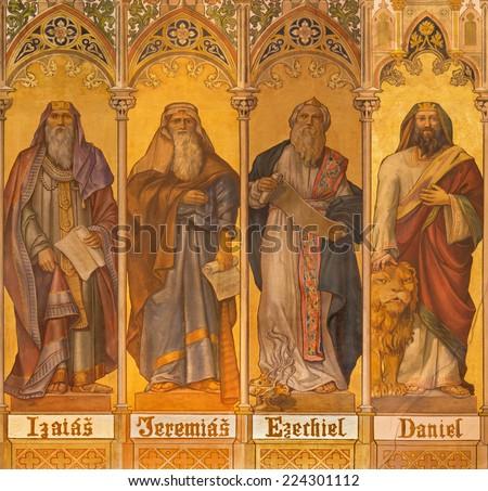 TRNAVA, SLOVAKIA - OCTOBER 14, 2014: The neo-gothic fresco of big prophets Isaiah, Jeremiah, Ezekiel, Daniel by Leopold Bruckner (1905 - 1906) in Saint Nicholas church.  - stock photo