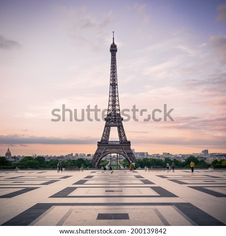 Trocadero and Eiffel Tower at sunshine. Paris, France. - stock photo