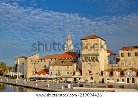 Trogir ancient stone architecture view, UNESCO world heritage city center in Dalmatia, Croatia - stock photo