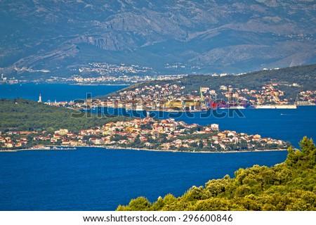Trogir bay Adriatic archipelago view, Seget, Ciovo island and Split, Dalmatia, Croatia - stock photo