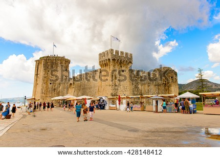 TROGIR, CROATIA - AUG 22, 2014: Kamerlengo (Gradina Kamerlengo), a castle and fortress in Trogir, Croatia. It was built by the Republic of Venice