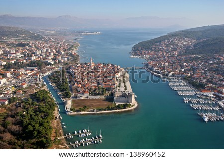 Trogir is a historic town and harbor on the Adriatic coast in Croatia, The historic city of Trogir is situated on a small island between the Croatian mainland and the island Ciovo - stock photo