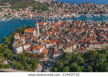 Trogir old town panorama. Croatia tourist destination. - stock photo