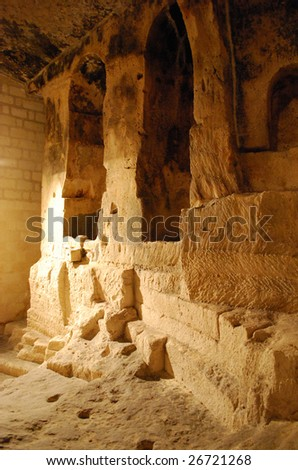 Troglodyte Church of San Pietro in Monterrone in Matera, Basilicata, Italy - stock photo