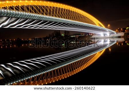 Troja Bridge in Prague. Beautiful night cityscape view - stock photo
