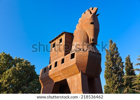 Trojan Horse at Troy Turkey - travel background - stock photo