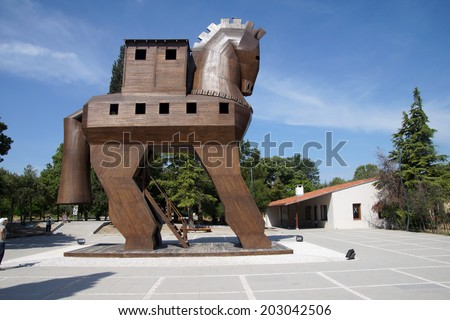 Trojan Horse replica on the site of ancient  Troy. Turkey  - stock photo