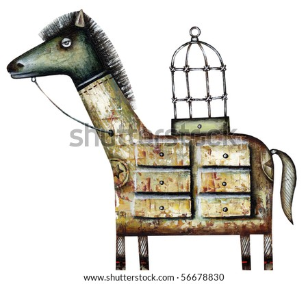 Trojan horse. The spyware illustration - stock photo