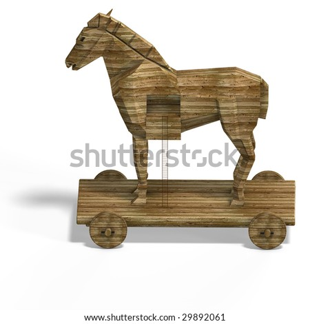 Trojan Horse with ladder With Clipping Path over white - stock photo