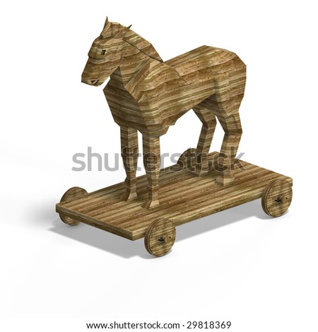 Trojan Horse without ladder With Clipping Path over white - stock photo