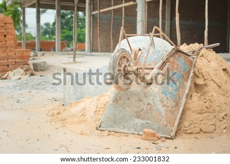 Trolley for construction at construction site - stock photo