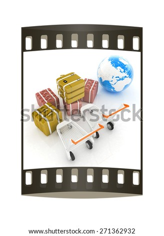 Trolley for luggage at the airport and earth. International tourism concept. The film strip - stock photo