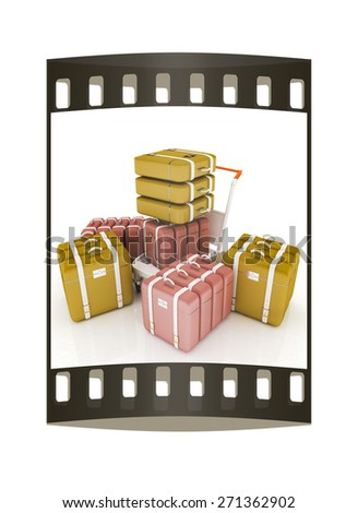 Trolley for luggage at the airport and luggage. The film strip - stock photo