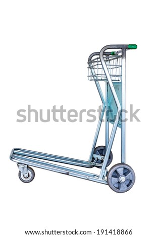 Trolley for luggage at the airport. Isolated on white background - stock photo