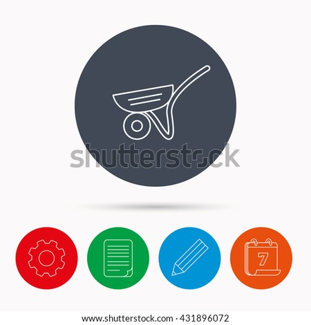 Trolley icon. Garden cart sign. Gardener equipment symbol. Calendar, cogwheel, document file and pencil icons. - stock photo