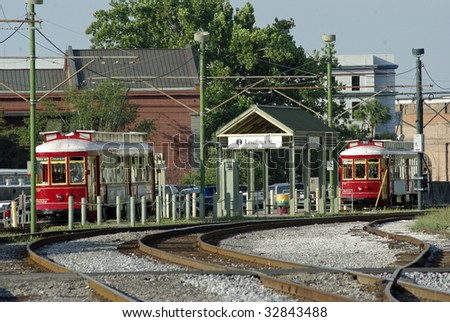 Trolley line with two streetcars